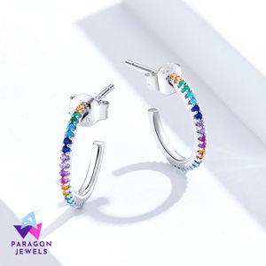 Rainbow Half Hoop 925 Sterling Silver Earring Gems